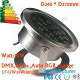 luz subacuática del punto de 24W DMX LED, lámpara subacuática