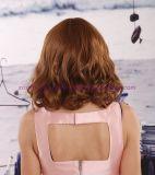 Peruca sintética ondulada do cabelo do comprimento médio com estrondos