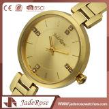 무기물 유리제 금 둥근 석영 손목 간단한 시계