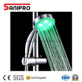 Pista de ducha multi plástica de lluvia de la mano del color LED del ABS de Sanipro