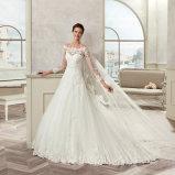 Привлекательный a - линия шнурок Tulle Appliques длиннее платье венчания 2017 втулки