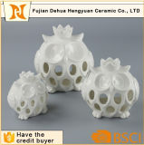 De witte Ceramische Holle uit Ceramische Houder van de Kaars van de Uil