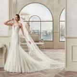 Сексуальный шнурок Tulle шеи ветроуловителя Appliques платье венчания 2017 Mermaid