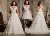 Добавочный размер вышил Appliques при кристалл отбортовывая на чувствительном шифоновом Bridal платье венчания