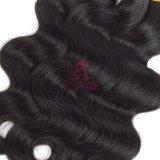 Чернота перуанского выдвижения человеческих волос двойника волос девственницы объемной волны Weft естественная