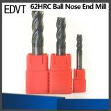 Торцевая фреза носа стального шарика вольфрама режущего инструмента 62HRC 4flute Edvt