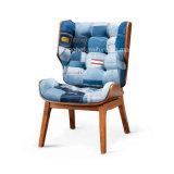 Cadeira de madeira moderna da sala de estar das calças de brim da sarja de Nimes M801
