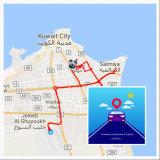 Coche GPS del vehículo que sigue el dispositivo con el sistema en Internet