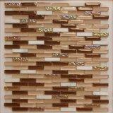 Mattonelle di mosaico di vetro di Backsplash di cristallo della striscia beige delle mattonelle