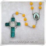 Vierge avec le rosaire catholique de résine d'enfant, collier rond de talons de résine (IO-cr374)