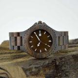 Relógio de madeira da sandália feita sob encomenda do preto do aço inoxidável