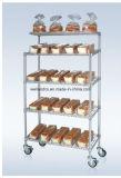 Crémaillère inclinée de chariot à étalage de pain de fil en métal de chrome de 5 rangées