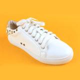 نساء نمط برشام لؤلؤة [بو] جلد عرضيّ كلّ حذاء رياضة بيضاء