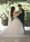Тучная арабская Bridal мантия отвесный Tulle шарика Sleeves кристаллический платье венчания Ar2017