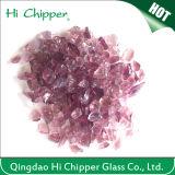 Lanscapingのガラス砂によって押しつぶされる薄紫のガラスは装飾的なガラスを欠く