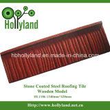 Hoja revestida de piedra de la azotea del metal (tipo de madera)