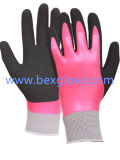 Guante de revestimiento doble del látex, parte posterior completa, guantes del final de Sandy