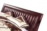 침실 사용 (B007)를 위한 Bed 진한 빨강색 가죽 임금