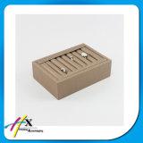 Étalage pendant de bijou de bracelet en bois lustré de plateau de rectangle