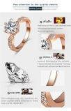 王女結婚指輪18kローズの金によってめっきされる明確なジルコンレディース方法宝石類のリング