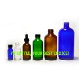 Bernsteinfarbige/freie/blaue/grüne Boston-runde Glasflasche mit Überwurfmutter