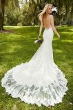 Halter Lace Bridal Gown Mermaid Beads Backless Vestido de casamento S20175