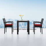 最も売れ行きの良い良質の屋外の庭の柳細工の藤のアルミニウム家具のコーヒーセット(YTA182&YTD003-16)