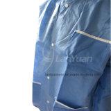 Пальто лаборатории синего пиджака с связанными тумаками и воротом