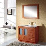 Étage en bois solide de Rustics restant la vanité simple de salle de bains de bassin