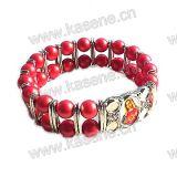 Branelli di vetro rossi con il braccialetto religioso dello strato della lega