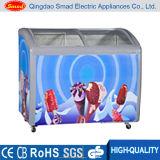 Congelador de vidro curvado comercial da caixa do indicador do gelado da porta