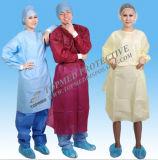 Vestido quirúrgico no reutilizable de SMS, vestido no reutilizable no tejido disponible del aislamiento