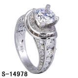 925 Ring van de zilveren 14k de Goud Geplateerde Vrouwen van de Trouwring