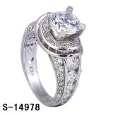 925 14k anillo de plata de las mujeres del anillo de bodas de oro plateado.