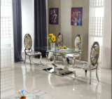 Комплект обедая таблицы мебели домашней комнаты более дешевый мраморный