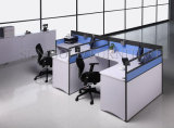 3 personne Wooden Office Workstation avec Frosted Glass (SZ-WST615)