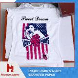 Papel de transferência térmica da camisa da luz T do tamanho da folha A4 para o algodão do t-shirt