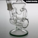 Оптовая продажа барботера табака кальяна стеклянной трубы водопровода Hitman буровой вышки Recycler куря согнутая Shisha стеклянная стремительная
