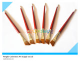 6PCS Wooden Handle Nylon Angular Hair Artist Brush para Painting y Drawing (color rojo)