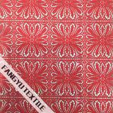 Tela vermelha do laço do algodão do projeto do teste padrão da pétala da flor