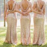 Erstaunliche GoldSequins schließen Hülsen-Partei-Brautjunfer-Kleid kurz (Dream-100047)