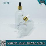 bouteille en verre cosmétique de compte-gouttes givrée par 100ml pour l'huile essentielle