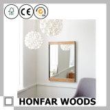 Luz do estilo da simplicidade - quadro de madeira marrom do espelho da parede