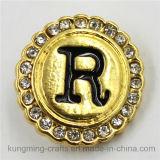 tecla instantânea Shaped redonda de Diamant da letra do ouro de 21mm para o bracelete de DIY