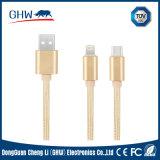 Câble USB de recharge et de données USB 2 en 1 isolé en nylon pour Mi, Samsung, iPhone