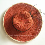 Red Faashion Femmes Papier Straw Beach Big Wide Brim Summer Hat (HW05)