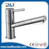 Laiton de chrome un robinet de bassin de salle de bains de mélangeur de cuisine de col de cygne de trou