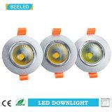 Dimmable LEDの穂軸Downlight 7Wは白いアルミニウム砂の銀を暖める