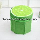 熱い販売! フルーツレモンデザインリントの円形のFoldable収納箱