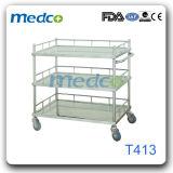 Carretilla Emergency del tratamiento del carro de la caída del acero inoxidable del hospital para el paciente